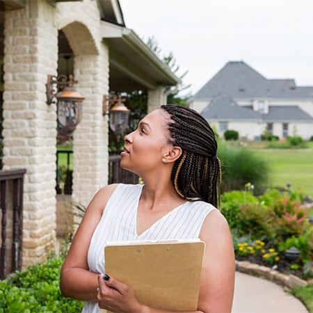 Human looking at a porch