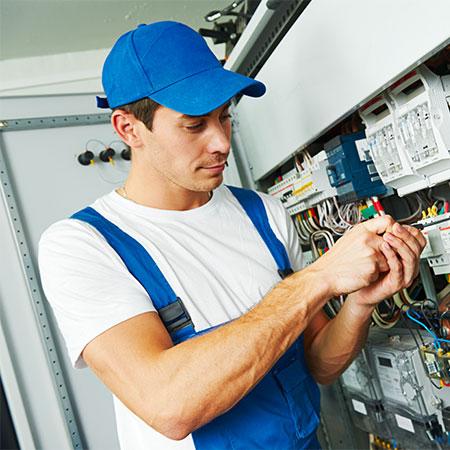 Human attempting electricity repair